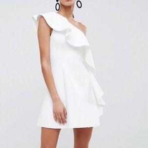 NWT ASOS one shoulder ruffle a-line mini dress